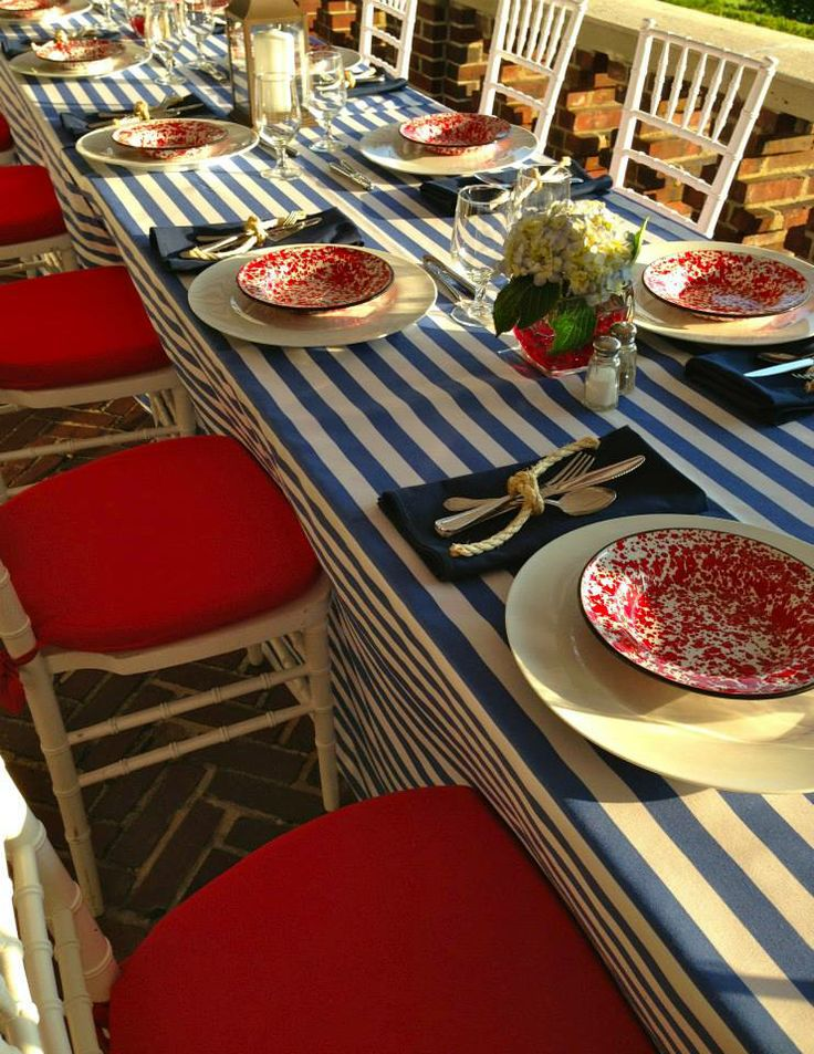 Use Boat Rope To Tie The Silverware With Red, White And Blue Decor.