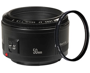 Canon EF 50mm 1.8 + 52mm filter
