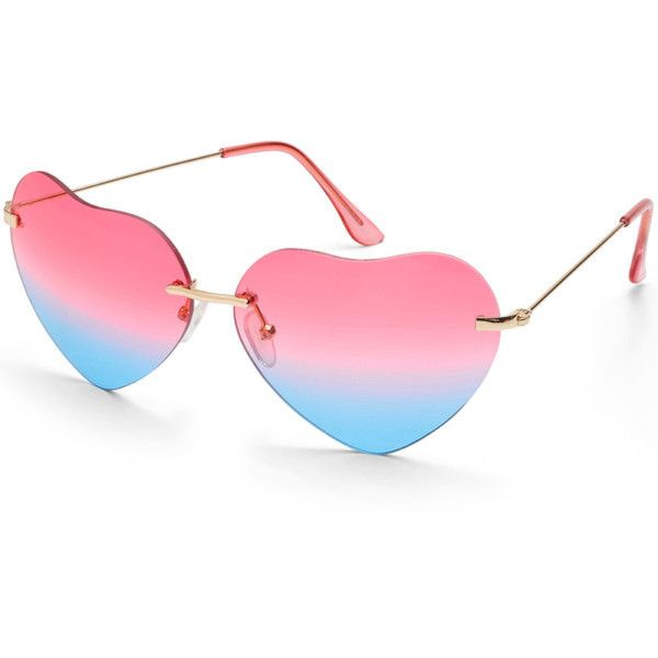Beauty & The Beach Heart Sunnies (390058901) (32 CAD) ❤ liked on Polyvore featuring accessories, eyewear, sunglasses, heart glasses, blue lens glasses, pink glasses, pink heart sunglasses and blue lens sunglasses