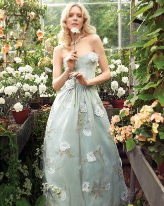 Blue Wedding Dress with Flowers Oscar de la Renta silk faille gown (also available in white; Ultimate Bride, 312-337-6300). Siman Tu freshwater pearl necklace