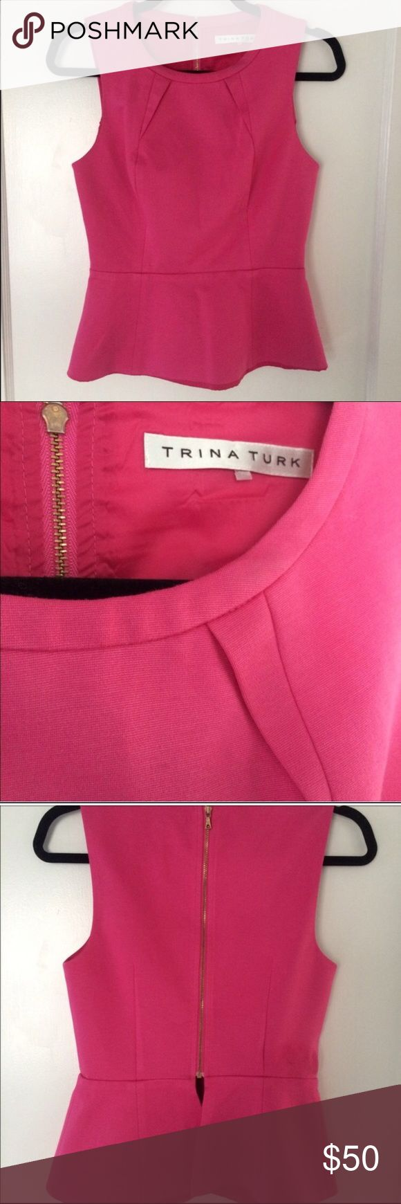 Hot Pink Trina Turk Peplum Top Hot pink Trina Turk Peplum style top with gold zipper! This is a repay. It was too small for me. Probably fits a 00, 0, or 2. The fourth photo shows two barely noticeable spots. Other than that, it's in great condition! Trina Turk Tops Blouses