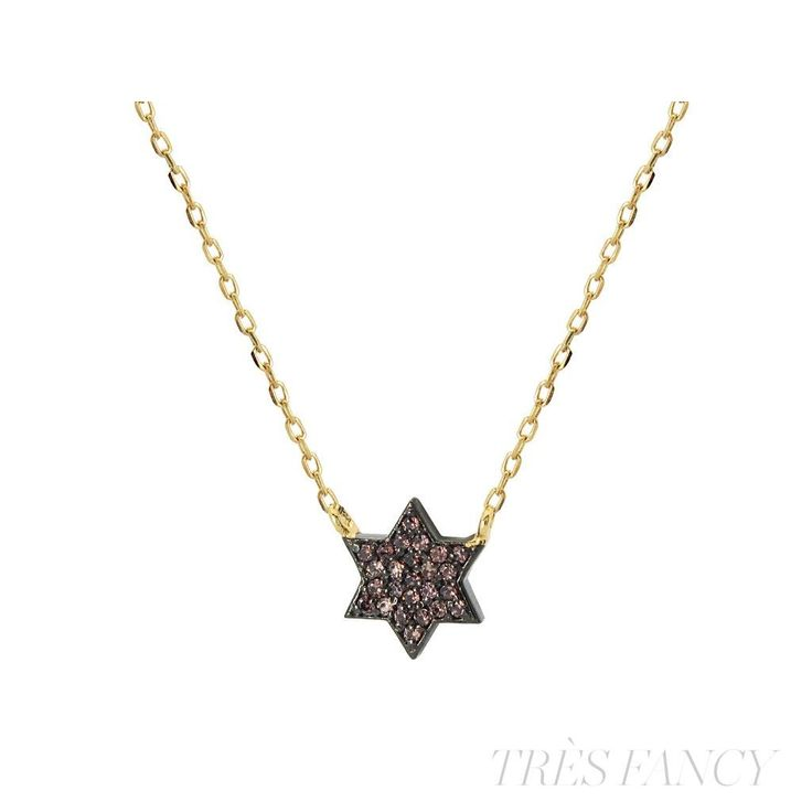 """Fronay Collection Gold Plated Silver Mini Star of David Pendant Necklace, 15.5"""" +1.5"""""""