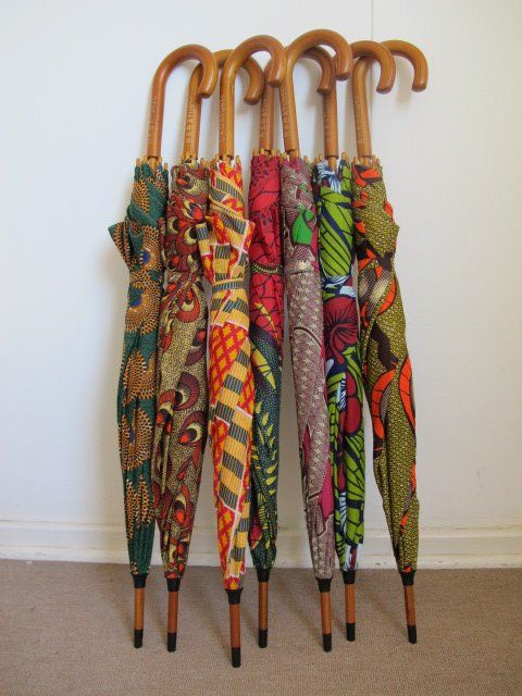 Would love to see these opened!!! Ankara Umbrellas made by Babatunde