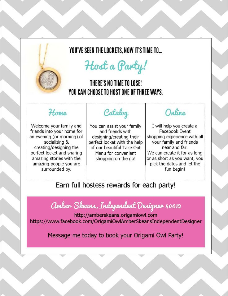 Contact me today to host an online party! I have a promotion going on for anyone who hosts a qualifying party, they'll receive a FREE medium silver locket! Don't miss out! http://amberskeans.origamiowl.com