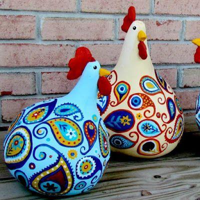Cómo hacer gallinas decorativas coloridas con calabazas ~ Solountip.com