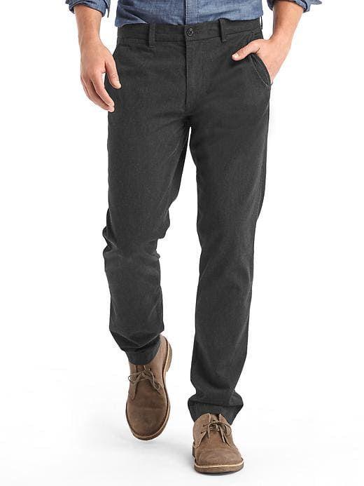 Gap Mens Herringbone Slim Fit Khakis Gray/Black Herringbone