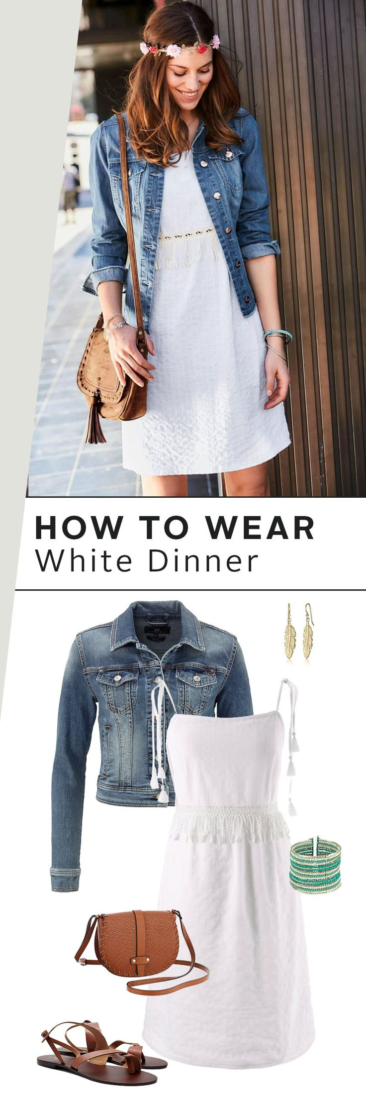 Deine streetstylische Alternative zum klassischen White Dinner-Look: Das süße Spagettikleid kombinierst du einfach mit einer Jeansjacke und Ethnoschmuck. Die Ledersandalen und die Ledertasche runden deinen Look perfekt ab.