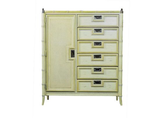 Faux Bamboo Stanley Campaign Dresser Bureau Highboy Chest Hollywood Regency Palm Beach Mid