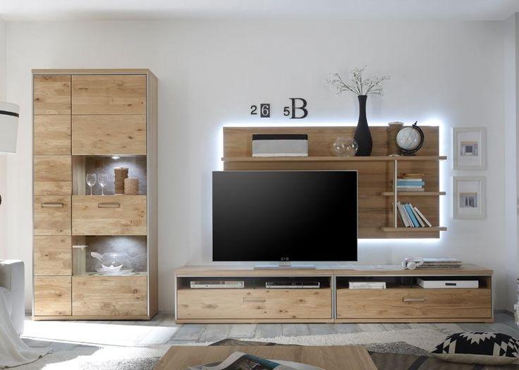 wohnwand eiche rustikal modern interessante. Black Bedroom Furniture Sets. Home Design Ideas