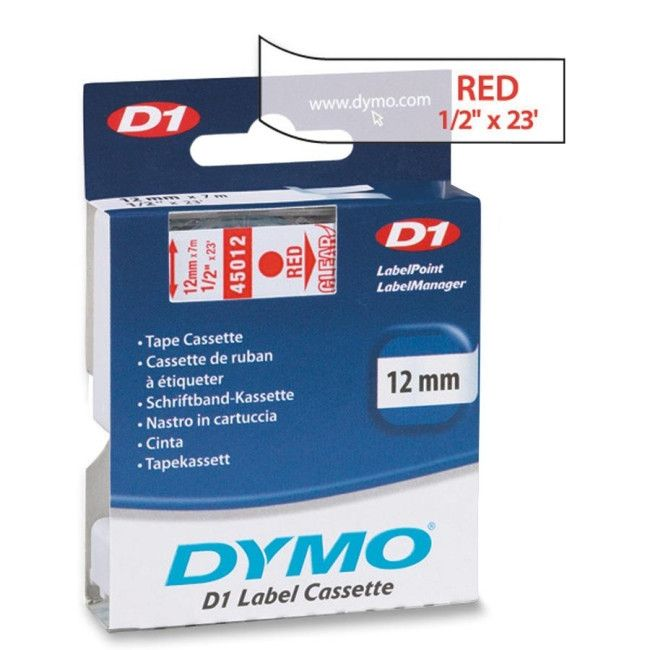 "Dymo D1 45012 Tape - 0.50"" Width x 23 ft Length - 1 Roll - Polyester - Thermal Transfer - Red, Clear"
