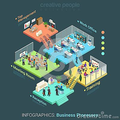 Flat 3d isometric business office floors interior rooms concept vector