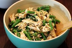 Green Bean, Shredded Chicken, and Toasted Coconut Salad with Jerk Dressing