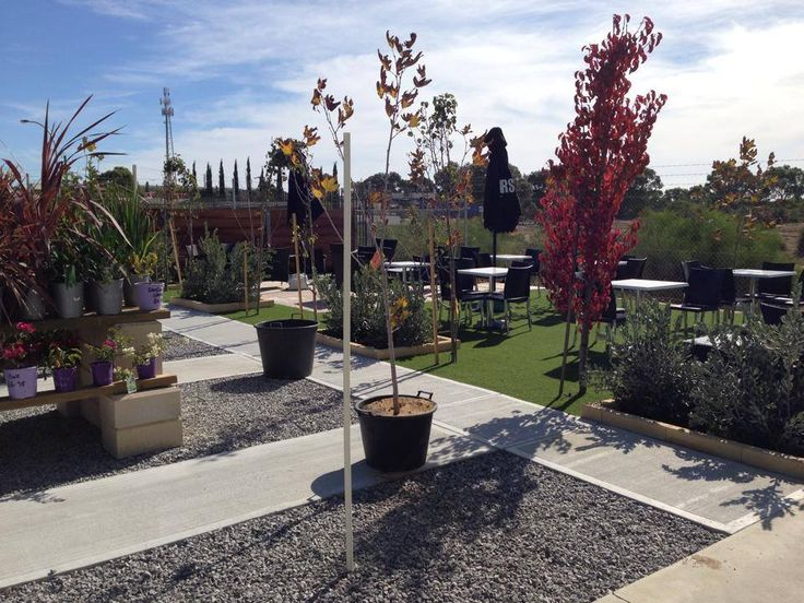 Wonderful news - Yanchep has a lovely garden centre with a cafe :)   Love the gravel and pavers/cement look could use for side of house