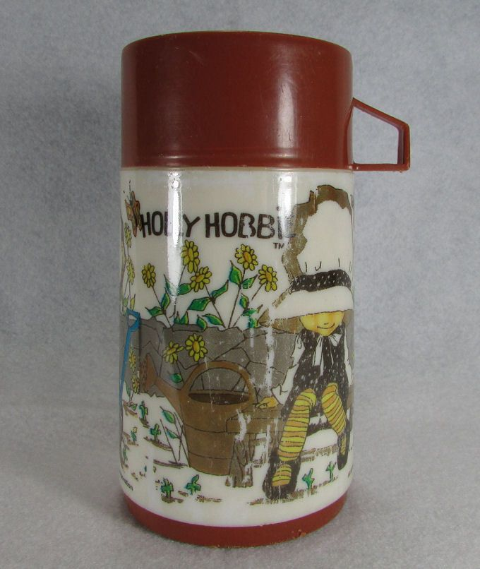 Vintage 1970s Holly Hobbie Thermos Aladdin Brown Thermal Bottle for Lunchbox Old #Aladdin