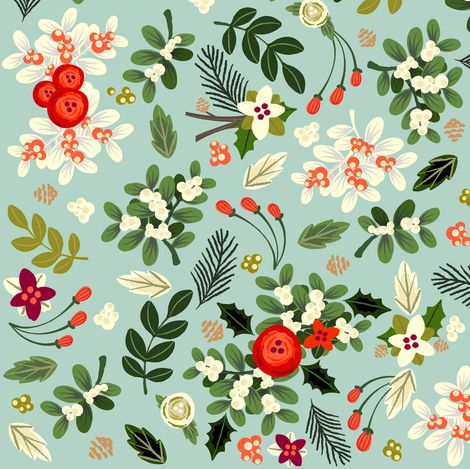 Vintage Ditsy Mistletoe fabric by babybubbleco on Spoonflower - custom fabric