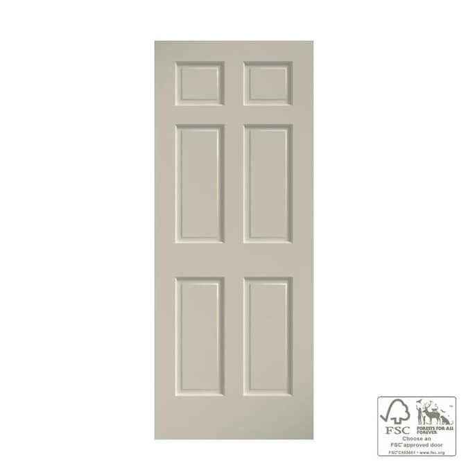 Eightdoors 24 In X 80 In White Primed 6 Panel Solid Core Wood Slab Door Lowes Com In 2020 Slab Door Wood Slab Pine Doors