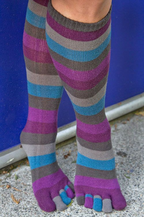 Your toes will be as pretty as a peacock in stripy socks of plum, teal and grey.