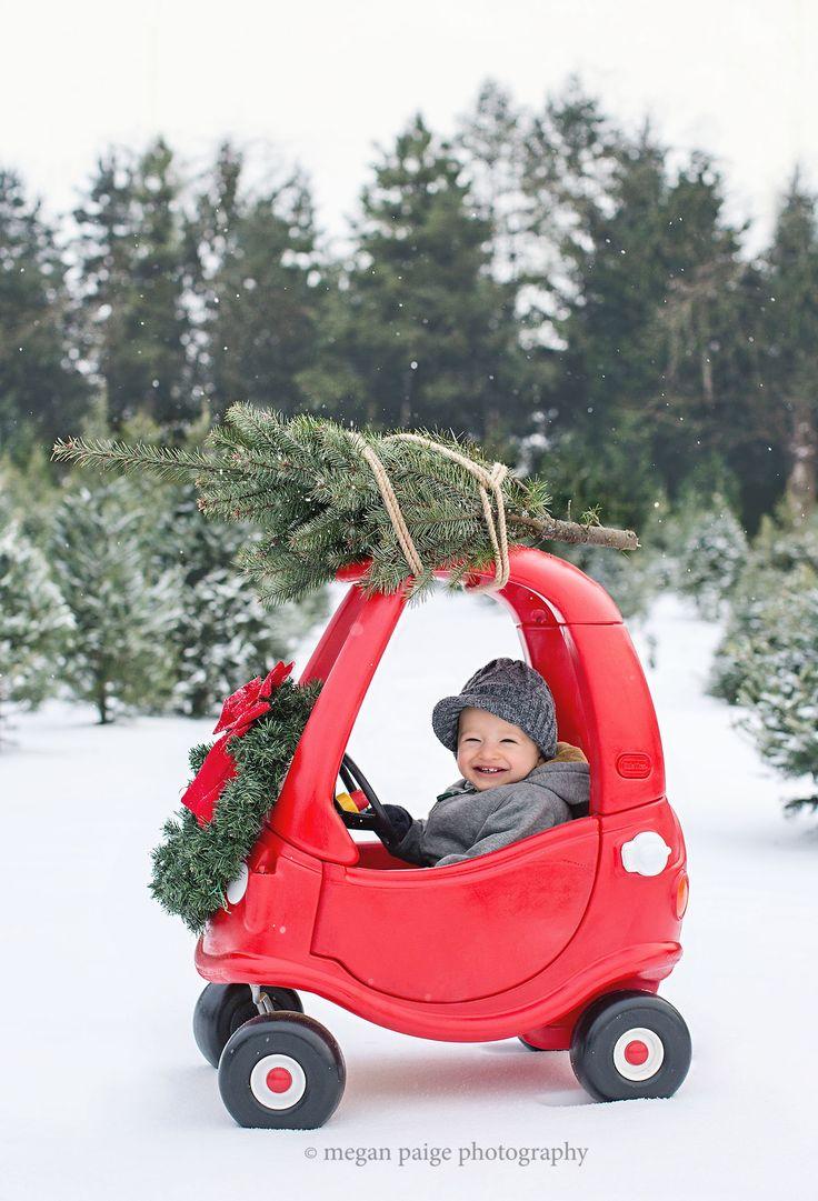 Toddler Christmas photo shoot . Toddler Christmas photography  Christmas mini session  Toddler car Christmas tree photo Christmas tree  Cozy coupe