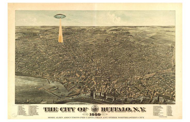 Digital Print, Buffalo NY, Buffalo Map, UFO, geekery, flying saucer, alternate histories, UFO art, Alien Abduction, Buffalo art, Wall Art by alternatehistories on Etsy https://www.etsy.com/listing/167983304/digital-print-buffalo-ny-buffalo-map-ufo