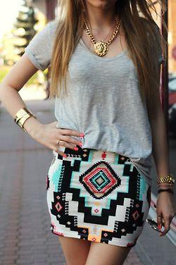 aztec skirt and plain tee