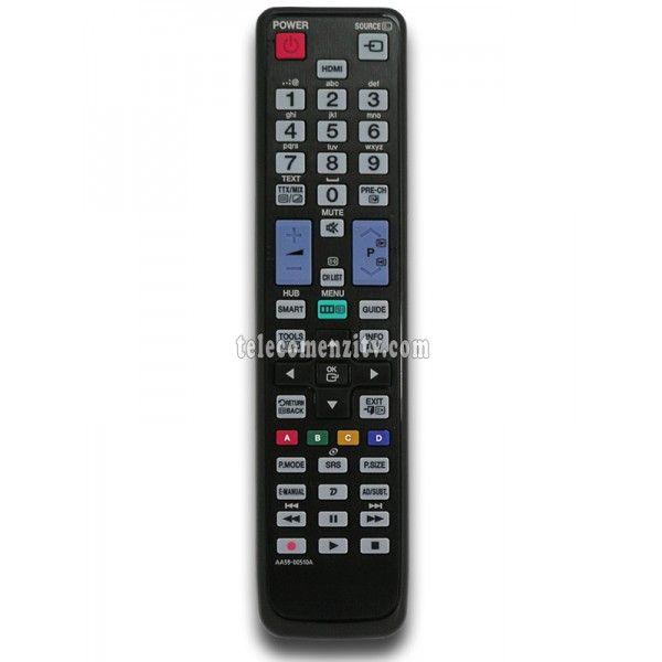 AA59-00510A (TM1060) este o telecomanda cu aspect original de cea mai buna calitate folosita pentru televizoarele LED/LCD si plasma marca Samsung. Nu are nevoie de coduri pentru a functiona,AA59-00510A are nevoie doar de baterii pe care le puteti comanda impreuna cu telecomanda, va recomandam sa folositi baterii alcaline. Telecomanda AA59-00510A poate fi folosita si in locul urmatoarelor modele de telecomenzi (modele echivalente): AA59-00465A, AA59-00508A, AA59-00507A, BN59-01069A…