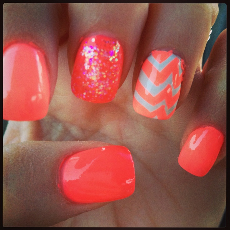 coral nails  coral and chevron on pinterest