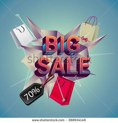 Big sale promo department store. Sale and discounts. Vector illustration. - stock vector