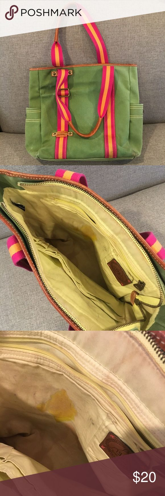 {Gap} Tote Bag Bright and colorful tote bag. Green with accents of pink and orange. Canvas material with light brown leather on the straps. Size pockets have snaps but missing the buttons on either side. There is so much storage inside but there are some stains. Inner pockets have velcrow and zippers. Great versatile bag! GAP Bags Totes