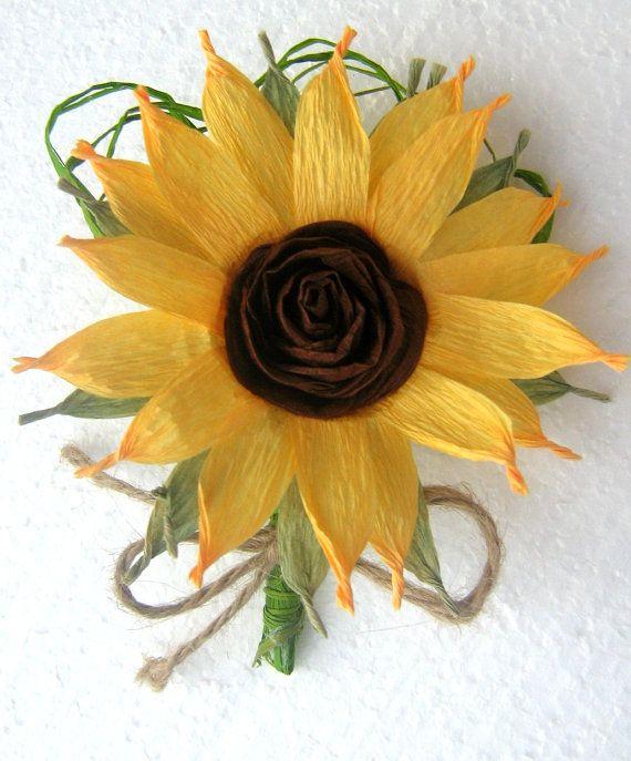 Sunflower boutonniere boutonnieres wedding by babyshowerflowers