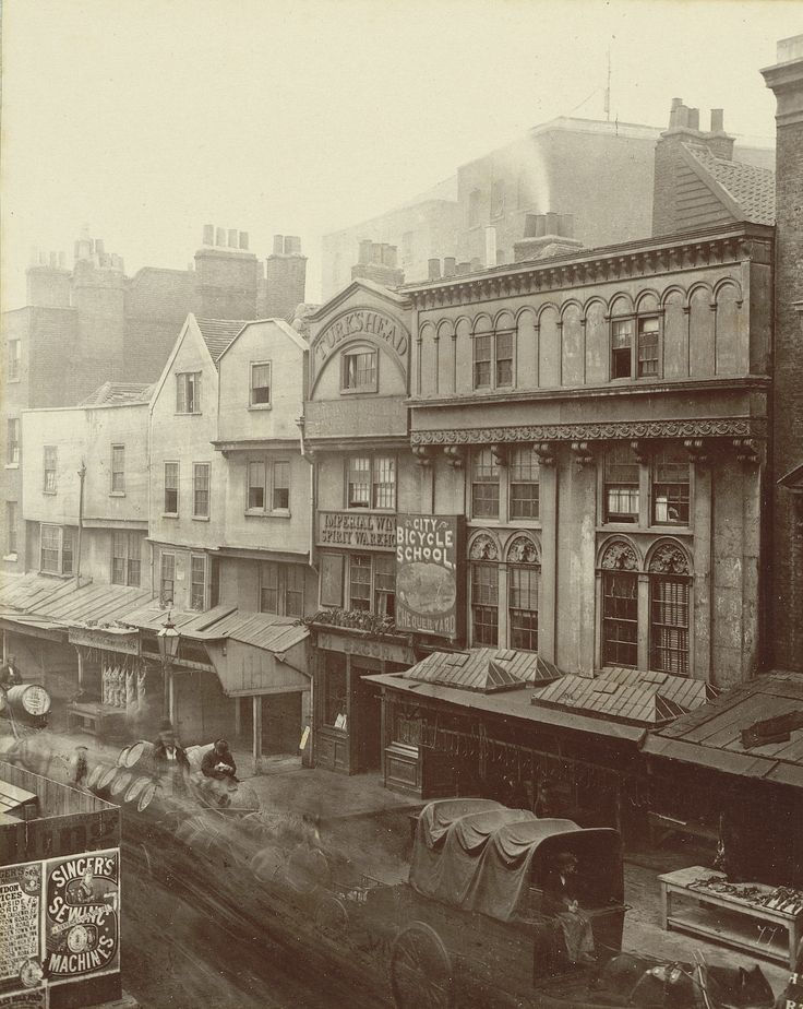 "Henry and Thomas James Dixon, no. 77, ""Old houses, Aldgate"" (1883), carbon print mounted on card, from 'Relics of Old London' (Society for Photographing Relics of Old London, 1875–1886, courtesy Yale Center for British Art, Paul Mellon Collection)"