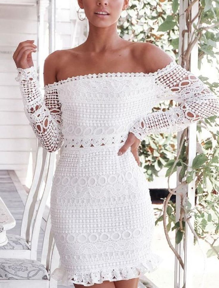 Casual Sexy Boat Neck Lace Hollow Out White Mini Bodycon Dresses 5