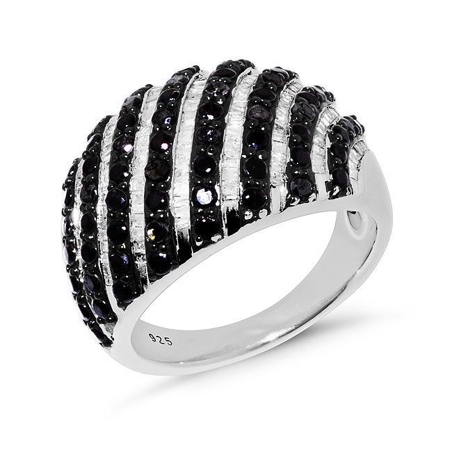 1.00 Carat Enhanced Black & Natural Diamond Striped Ring in Sterling Silver | Jewelry & Watches, Fine Jewelry, Fine Rings | eBay!