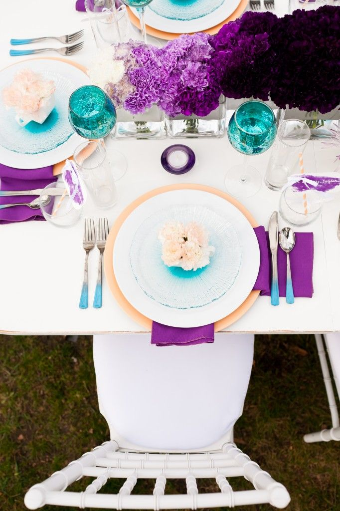 Purple ombre centerpiece for more ideas and inspiration