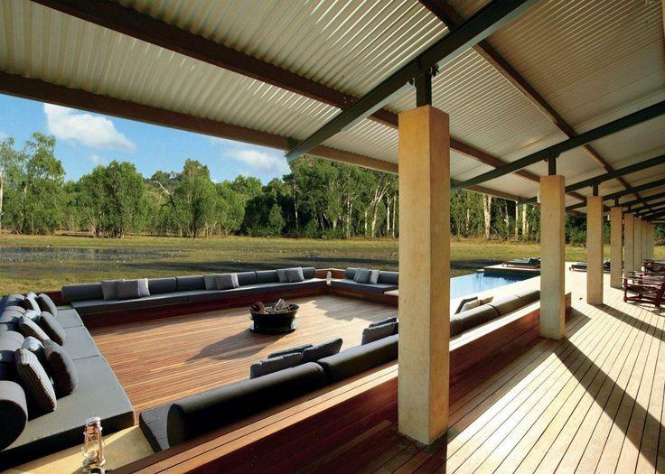 Wildman Wilderness Lodge. The large open-air space for relaxation, in the central building of the resort. #interdema #safaritent #ecoresort #luxury #travel #design #WildmanWildernessLodge #KakaduNationalPark #Australia #дизайн #люкс #путешествие