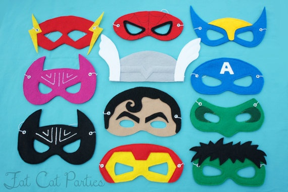 Set of 10  Felt Super Hero Masks by FatCatParties on Etsy