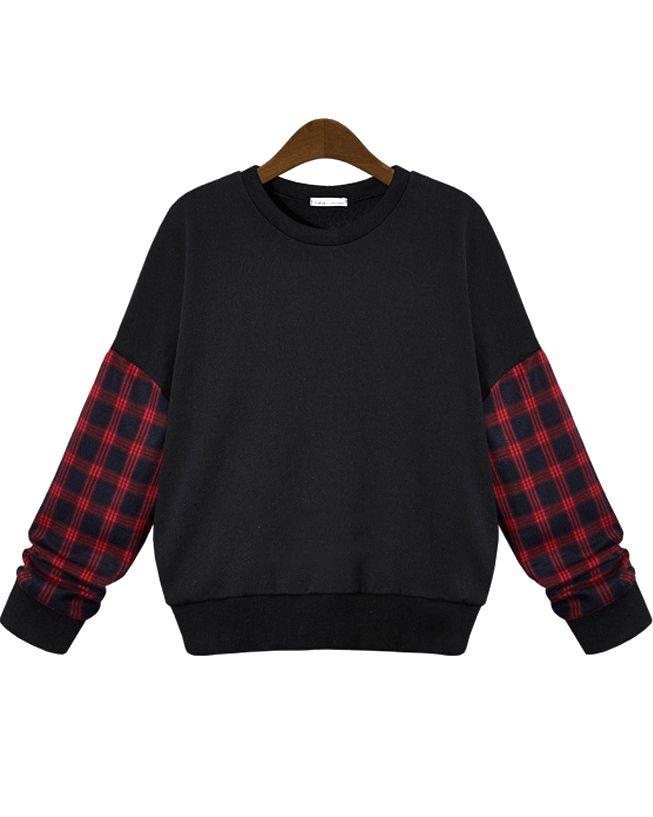 Black Contrast Plaid Long Sleeve Loose Sweatshirt 24.00