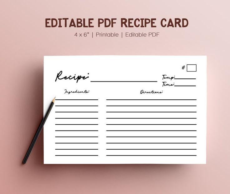 Editable blank recipe binder book digital template pdf