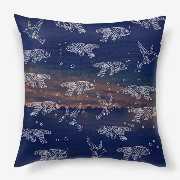 Подушка «Патерн в синем море»