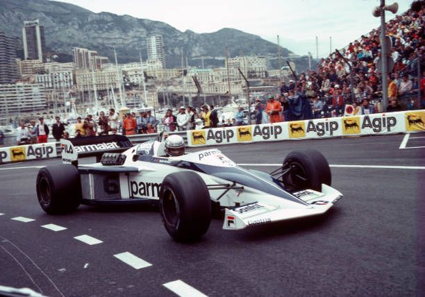 Riccardo Patrese of Italy in action, driving a Brabham BT52 with a BMW M12 1.5 L4t engine for Fila Sport, during the Monaco Grand Prix at Monte Carlo on 15th May 1983. Patrese retired from the race after the 64th lap due to electrical problems.