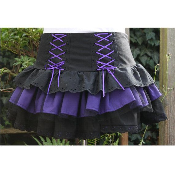 SALE Gothic Lolita skirt. black and purple rara skirt Halloween witch goth  80s skirt last one