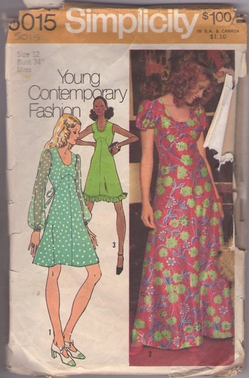 Simplicity 5015 Vintage 70's Sewing Pattern BEAUTIFUL Young Contemporary Fashion Scoop Neck, Shaped Empire Waist Tie Back Party Dress, Hawaiian Style Maxi Gown