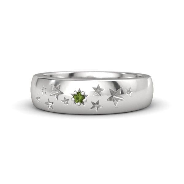 Sterling Silver Ring with Green Tourmaline - Supernova Band | Gemvara