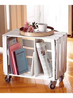 <p>Une vieille caisse en bois devient une jolie table d'appoint. On ajoute des roulettes pour la déplacer en fonction de nos besoins.</p><p>Source: classymissmolassy.tumblr.com</p>