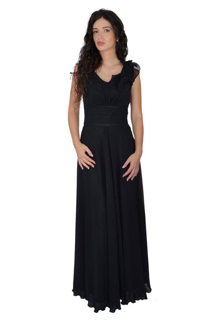 Rochie lunga de ocazie din voal negru incretita pe talie, cu brau lat ce marcheaza talia, accesorita pe un umar, cu strasuri aplicate manual.