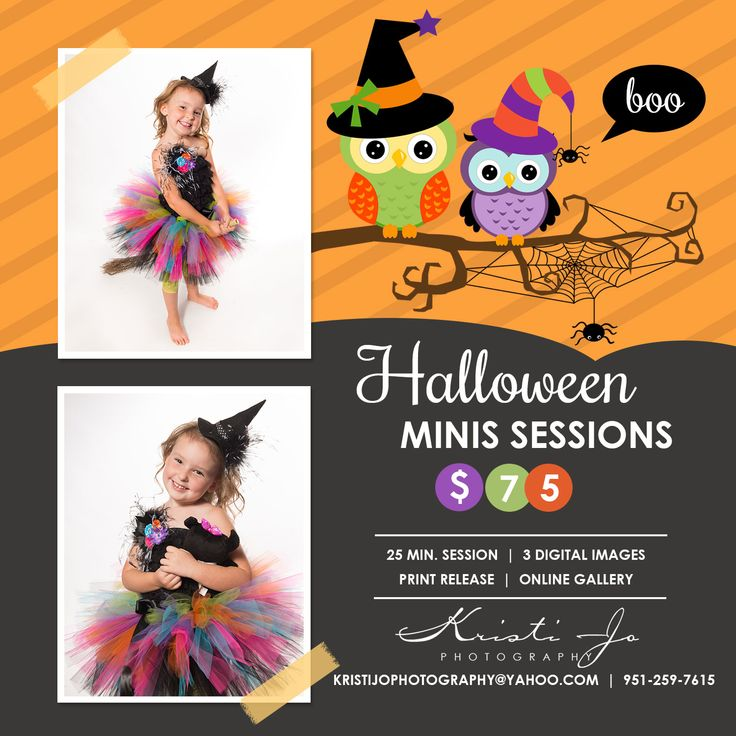Halloween is only a few weeks away!  Halloween Mini Sessions available during the week of October 26th thru 30th.  Limited  Times, so book today!  $75 session fee includes 25 minute mini session with 3 digital portraits.   Children must be in costume and up to 3 children per session.