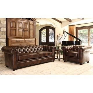 Abbyson Tuscan Premium Italian Leather Sofa and Armchair Set - Free Shipping Today - Overstock.com - 15559670 - Mobile