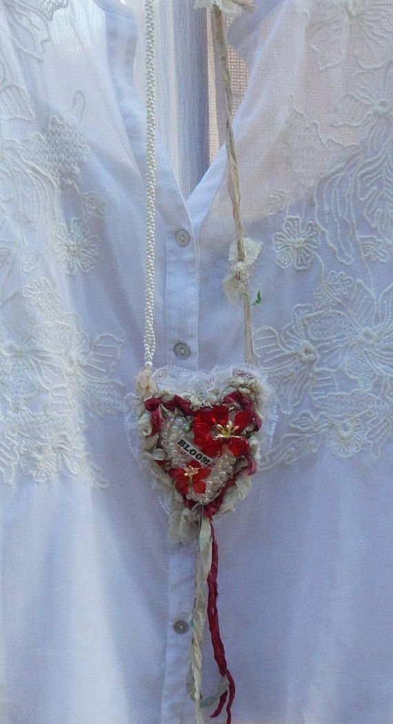 Faith Textile Art Necklace Handmade Fabric by CrossMyHeartBags