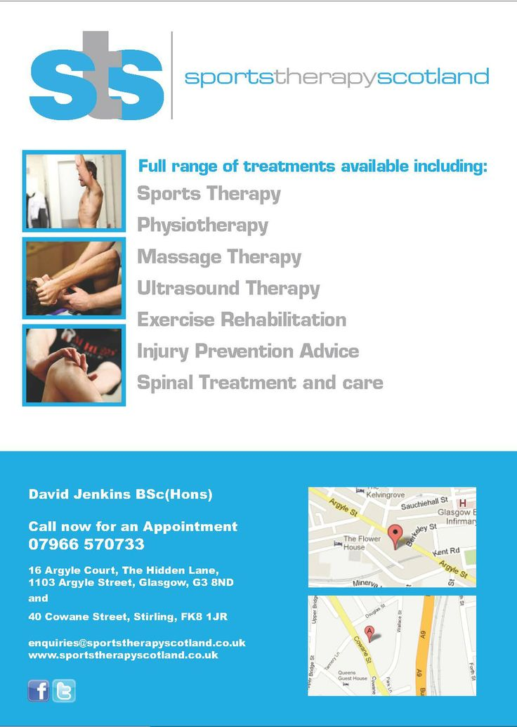 Sports Therapy Scotland flyers redesigned for local marketing campaign.