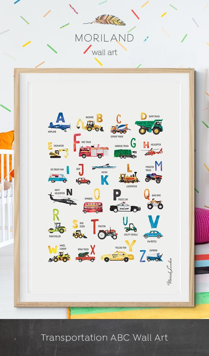 Alphabet Print Abc Poster Transportation Cars Wall Art Nursery