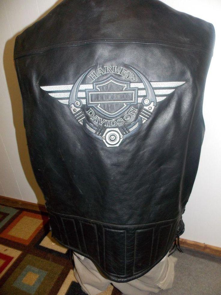 Harley Davidson Mens Leather Vest Size XXL 2XL